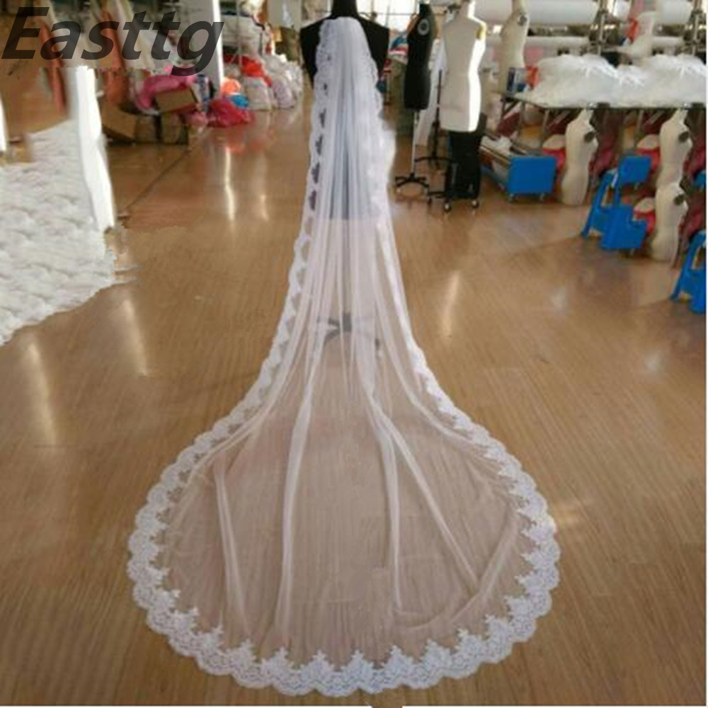 white Ivory Real Photos High Quality 1 Tiers Cathedral Lace Wedding Veils with Comb Bridal Veil Wedding Accessories Veu de Noiva