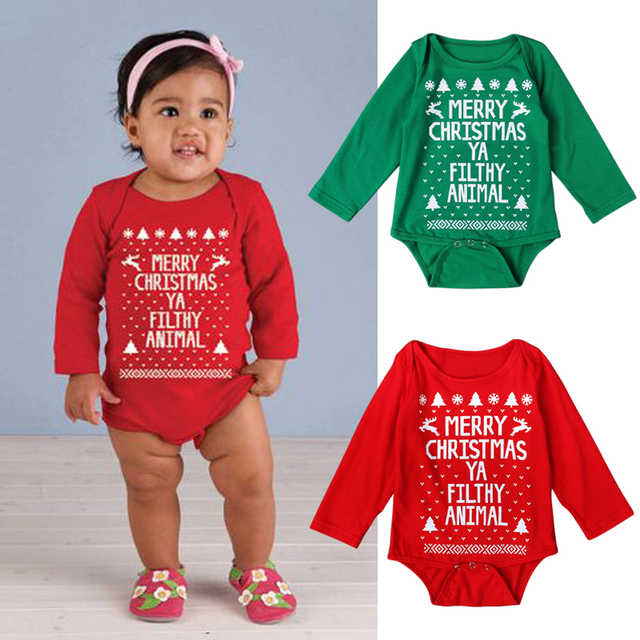 933357369 2017 Baby Christmas Costume Autumn Summer Infant Baby Happy Christmas  Clothing Long Sleeve Rompers Jumpsuit Clothes