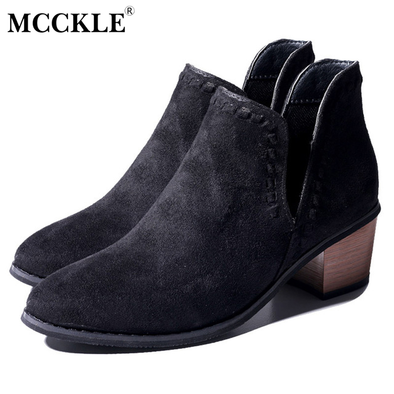 MCCKLE Women Slip On Ankle Boots Spring Low Heels Sewing V Pattern Cutting Design Woman Buckle Womens Low Heels Retro Shoes
