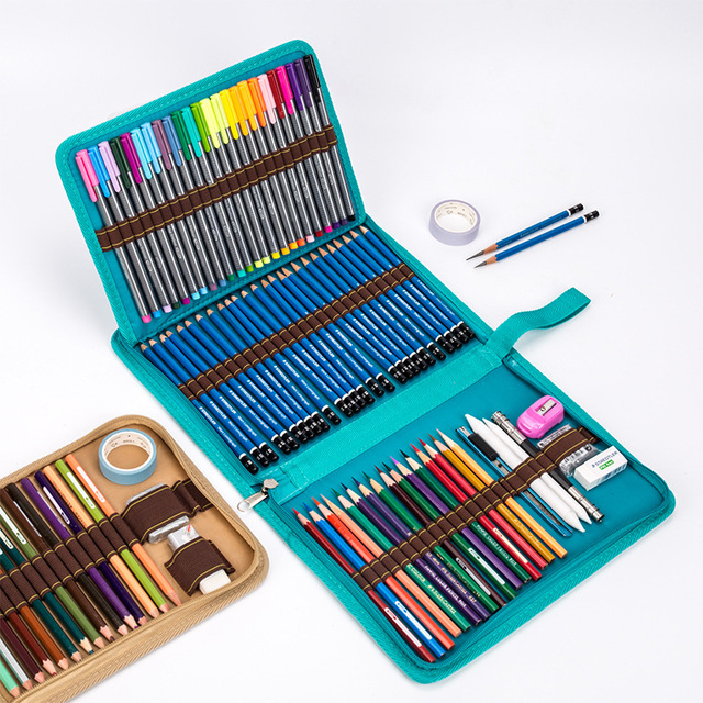 Skole pennal Canvas 36/48/72 Holes pennal bag Profession Pen Box Straff for Boy Girl Kunst Marker oppbevaringsveske