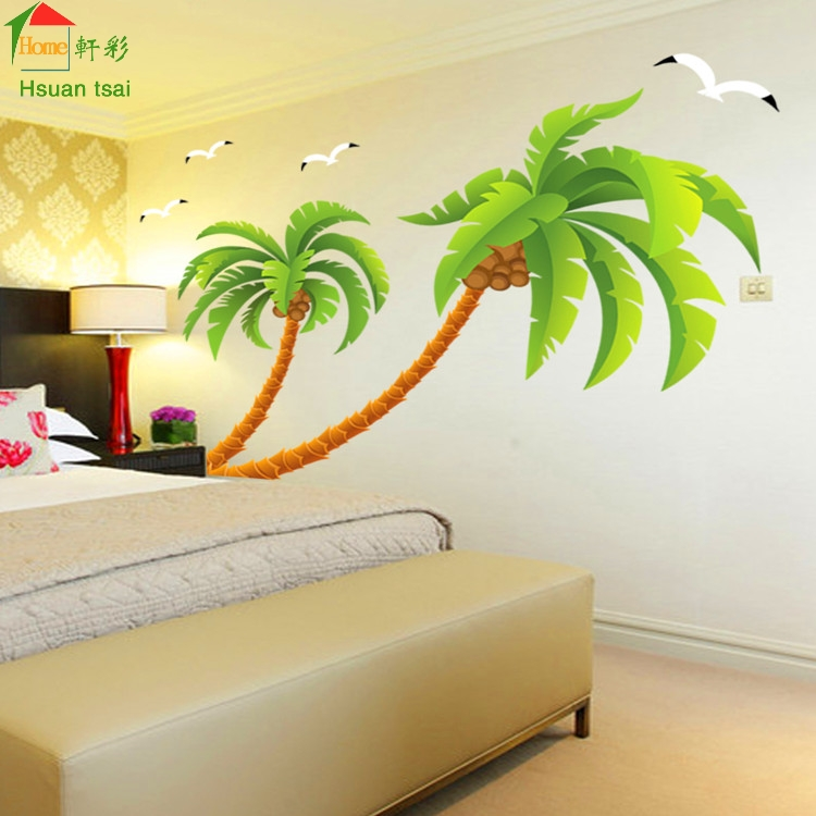 Buy Green Coconut Tree Gulls Vinyl Wall