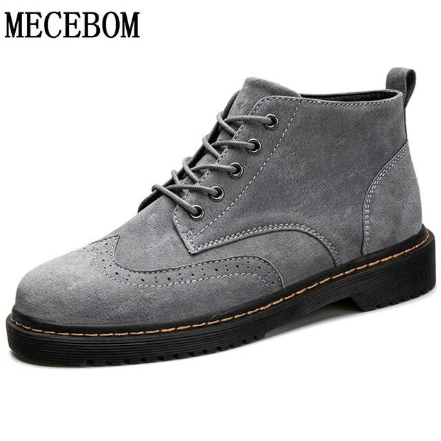 b5015912e32 Hombres Brogue botas Otoño Invierno botas moda Lace Up zapatos de cuero de  los hombres de