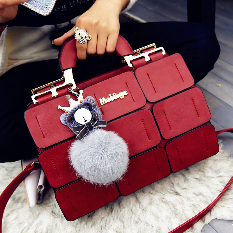 b4a3710d312 High quality women bag suture Boston bag inclined shoulder bag women  leather handbags Red send free gift