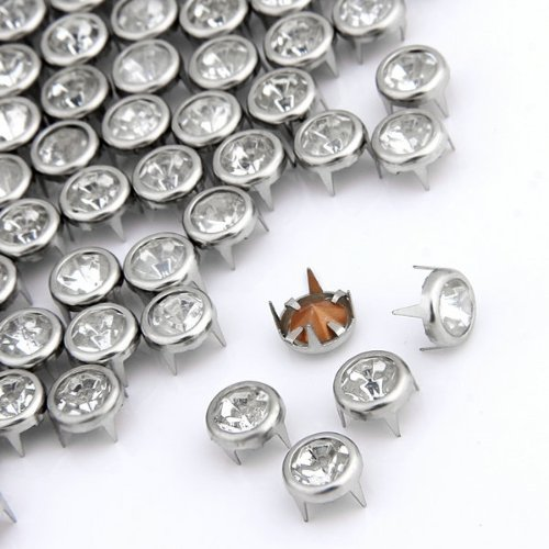 Useful 100 x 7 mm Metal Rhinestone Studded Silver Studs Round Studs Crystal Rivets солнцезащитные очки brioni солнцезащитные очки