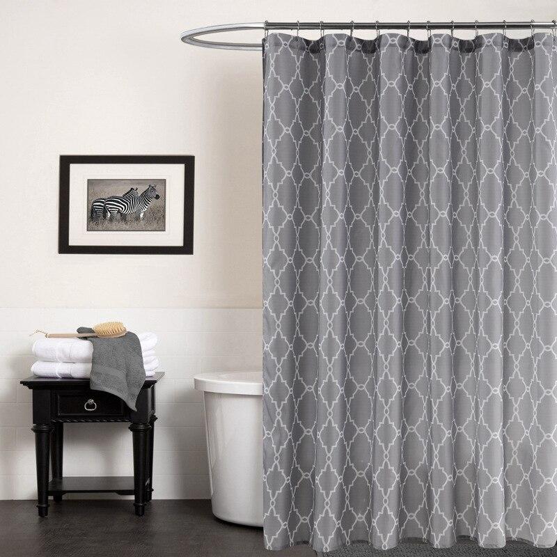 유럽 그레이 목욕 커튼 방수 기하학 인쇄 패브릭 70x72Inch 재고 홈 욕실 액세서리