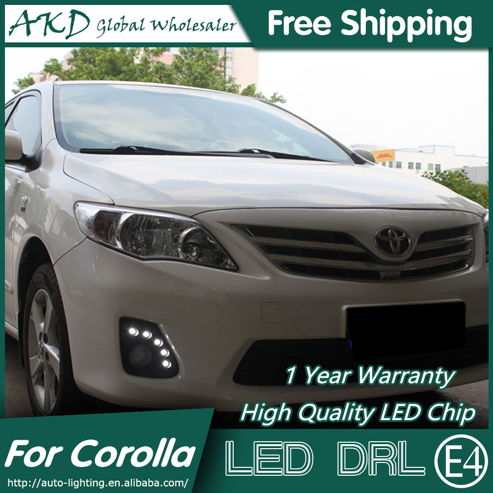 Akd car styling for toyota corolla led drl 2011 2013 altis led daytime running light fog light parking accessories
