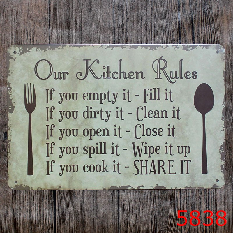 OUR KITCHEN RULES Tin Painting Board Vintage Tin Signs
