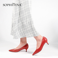 SOPHITINA Brand Shoes Genuine Leather Female Thin High Heel Working Party Lady Pumps Pointed Toe Fashion Sexy Shoes Woman W21