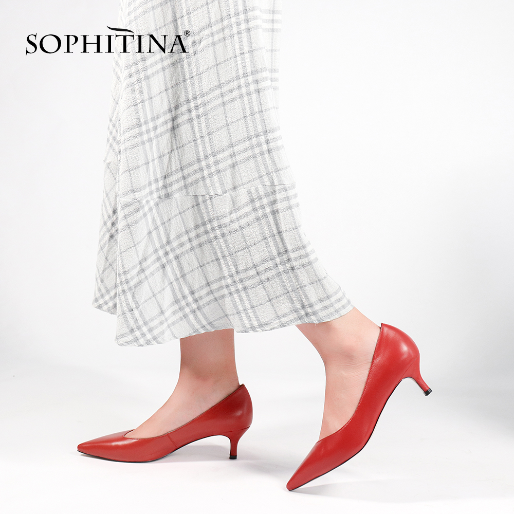 SOPHITINA Sexy High Heels Pumps High Quality Kid Suede Pointed Toe Comfortable Shoes Wedding Fashion Hot Sale Women's Pumps W21