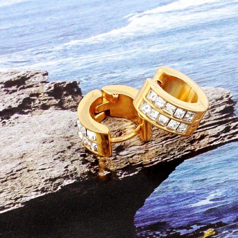 QianBei Women 316L Stainless Steel Earrings Fashion Exquisite Zircon Crystal Earring Men Gold Ear Studs Wedding Jewelry Gift