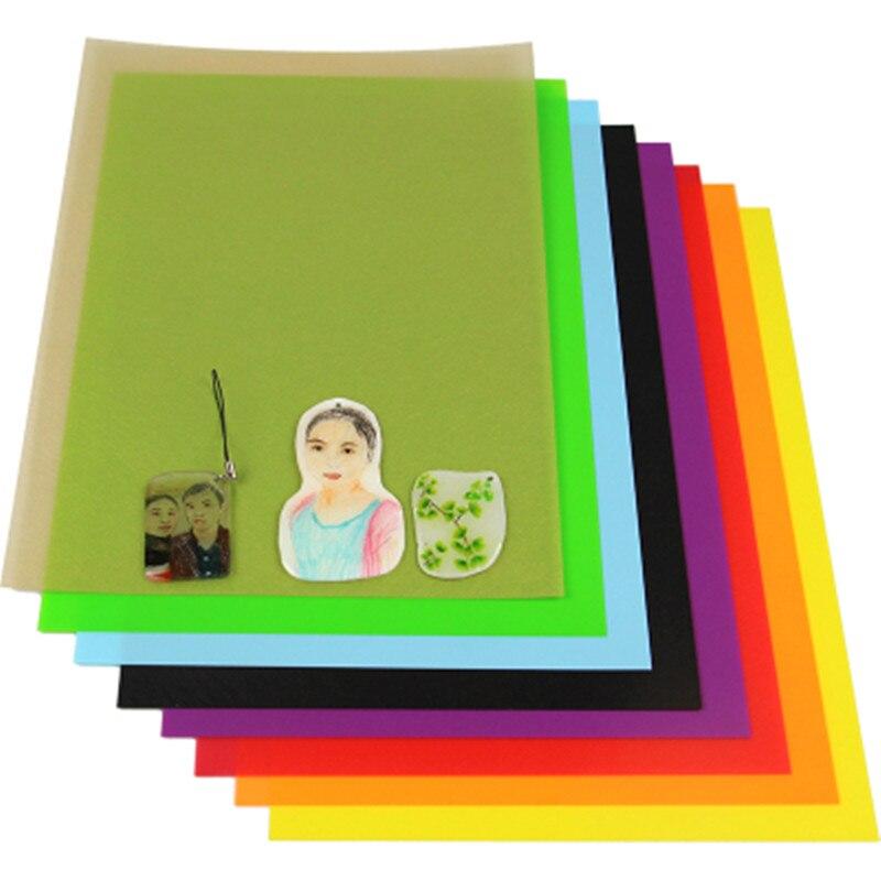 10 pcs a4 tamanho multicolorido encolhe filme plastico folha diy resina decoracao filmes nao imprimivel brinquedos