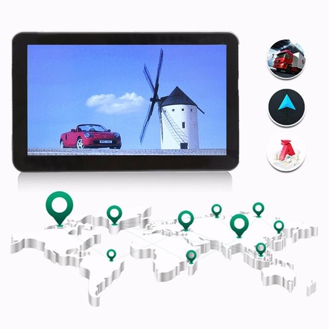 7 polegada TFT-LCD Do Carro Portátil Carro de Navegação GPS FM 8G Navigator Sat Nav Toque FM Tela MP3 Para AU + EUA + UE/REINO UNIDO Vida mapas