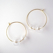 New Artsy Simple Style Gold Tone Large Glass Bubble Hoop Earrings For Women 2018 Charming Clear Double Balls Earrings Girls(China)