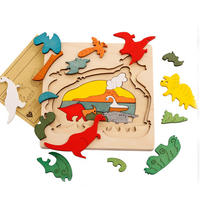 2017 NEW Early Children Educational Wooden Toys Multilayer Kids Cartoon 3D Dimensional Animal Puzzle Baby Gift