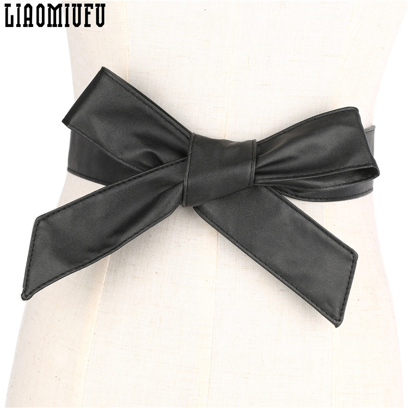 LIAOMIUFU Women's   Belt   PU Leather Bow knot Body Shaping Bands Wide Waist   Belts   All Match Women Dress Accessories