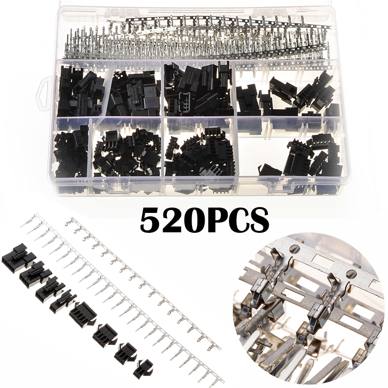 520PCS Nylon Crimp Wire Connectors With Hook Black Jumper Pin Housing Headers Kit 40 Sets Male Female XHPX 2/3/4/5J 2.54MM 260pcs wire cable jumper male female pin connectors pcb headers housing terminals
