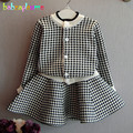 2Piece/2-6Years/Spring Autumn Kids Clothes Baby Girls Outfits Plaid Sweater Cardigan+Skirt Casual Children Clothing Sets BC1268