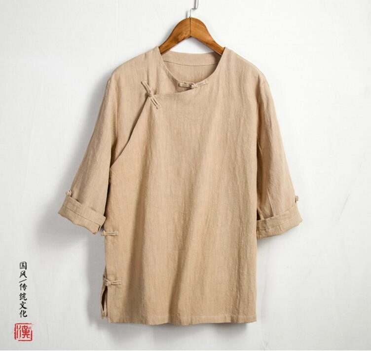 Summer Chinese linen five blouse, shirt sleeve male cotton mens clothing thin inch Retro clothes dress