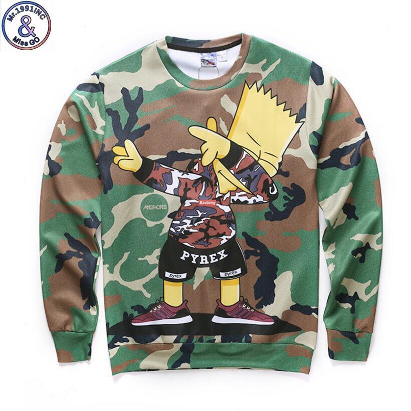 Mr.1991 Brand special design Camouflage cartoon boy printed 3D sweatshirts for boy big kids pullover hoodies teenage  W48