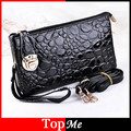 Lady Handbags Cross Body Zippers Lock Black Color Women Shoulder Bag Stone PU Leather Female Messenger Envelope Tote Bags Purses