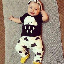 2016 Infant Baby Girl Boy Clothes Set Newborn T shirts Cotton Short Sleeve Tops Pants Clouds Rain Pattern 2PCS Suit Outfit