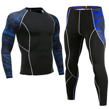 2018 winter crossfit t-shirts Leggings set men clothing thermal underwear rashgard MMA compression 2 piece tracksuit men Brands(China)