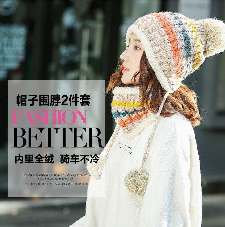 Inverno feminino chapéu de malha cachecol feminino