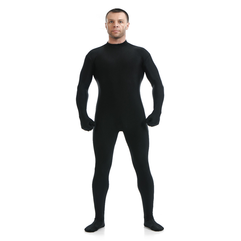 24hours Lycra Spandex Turtleneck Unitard Mens Full Body Zentai Suit Hoodless Footed Zipper Tight Skin Suits Dancewear With Hands