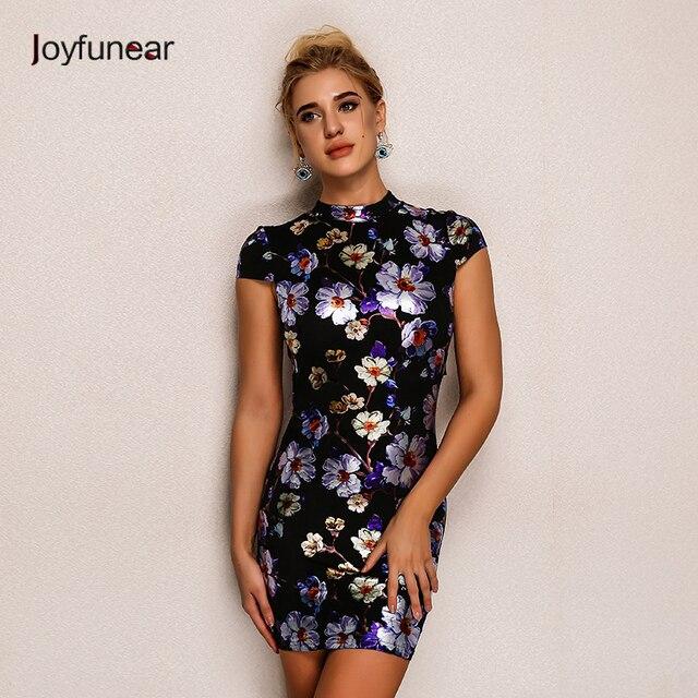 8d2b088f36e0 Joyfunear Fashion Torna Tie Up Stampa Vestito Da Estate Sexy Manica Corta  Elegante Mini Vestito Delle