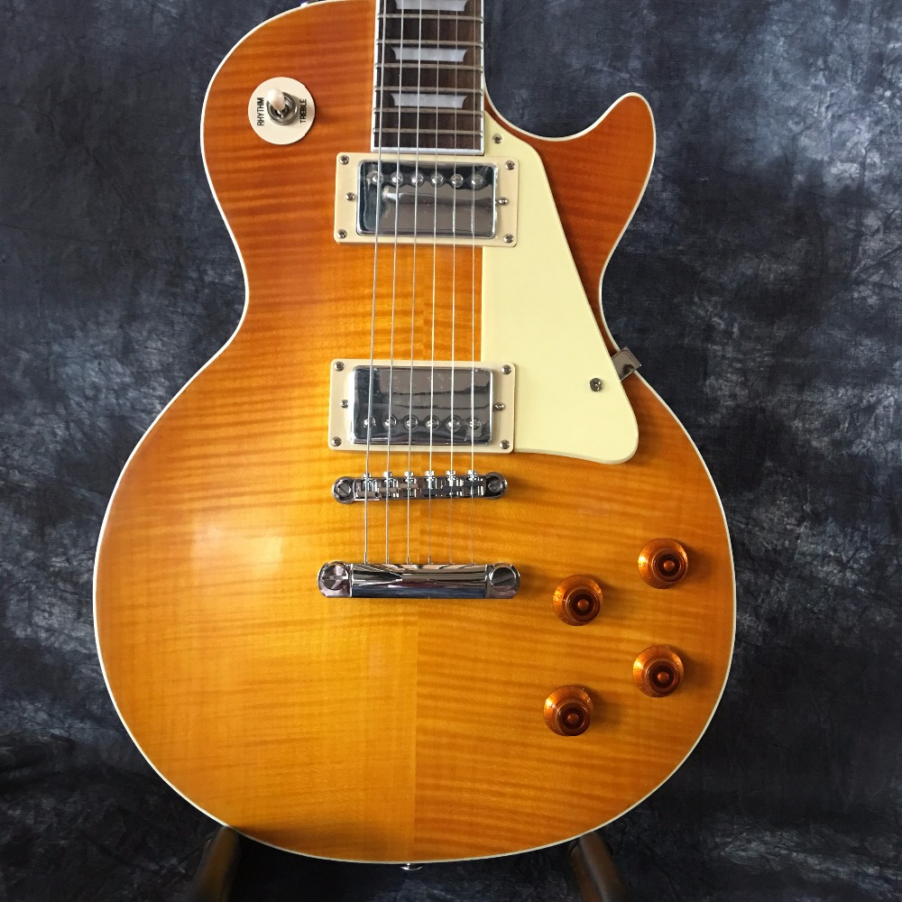 Classic 1959 R9 Yellow Burst Chinese Guitar Style Standard Electric Guitar with EMS Free Shipping free hardcase lp jimmy page standard electric guitar in amber honey burst 101122