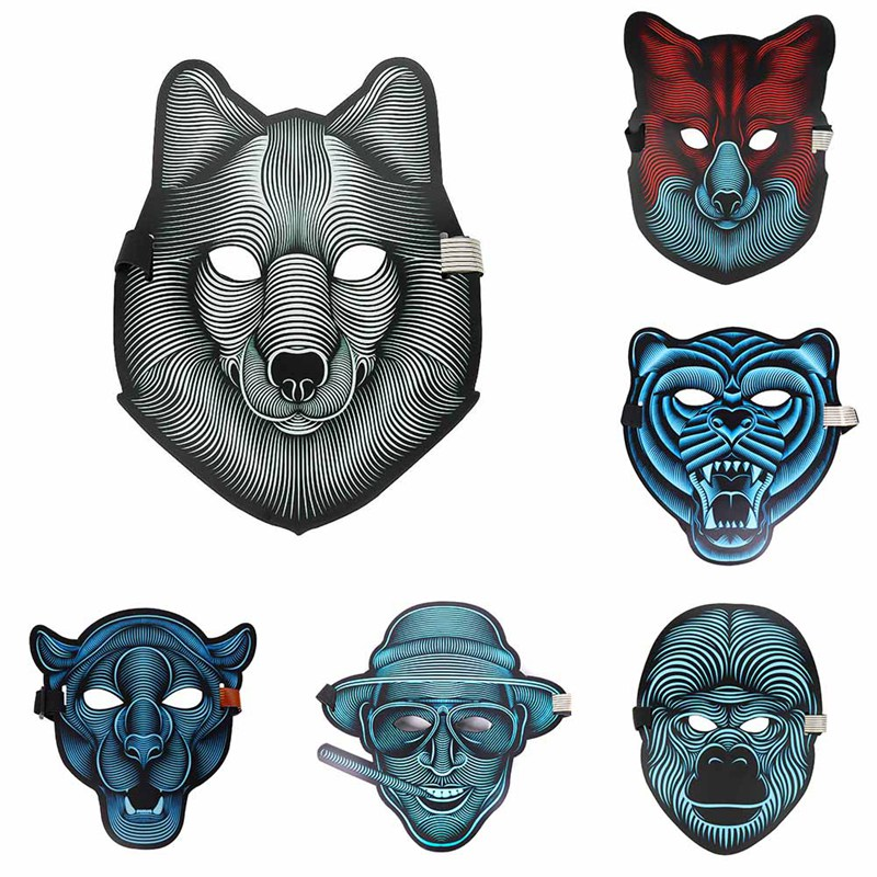 2018 Nuovo disegno di Suono Attivato Halloween EL Maschera, Mascherina Del Partito di Halloween Il Suono Reattiva Led Maschera