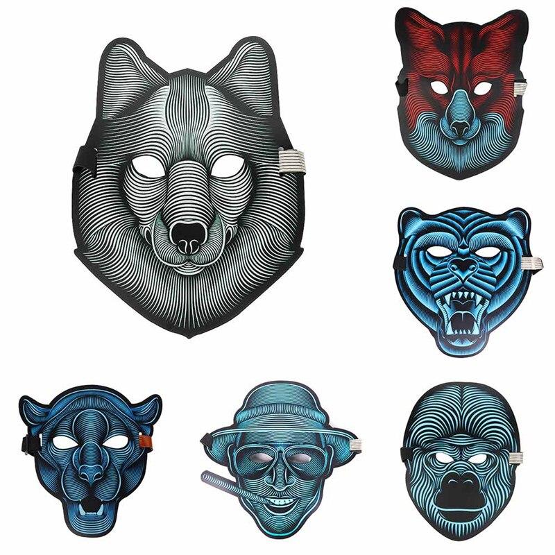 2018 neue design Sound Aktiviert Halloween EL Maske, Halloween-Party Maske Die Sound Reaktiven Led Maske