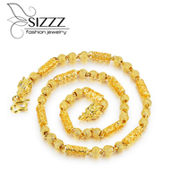 SIZZZ Selling Necklace Men Gold Dragon Head Beads Chain Crude Tyrants Gold Necklace For Men
