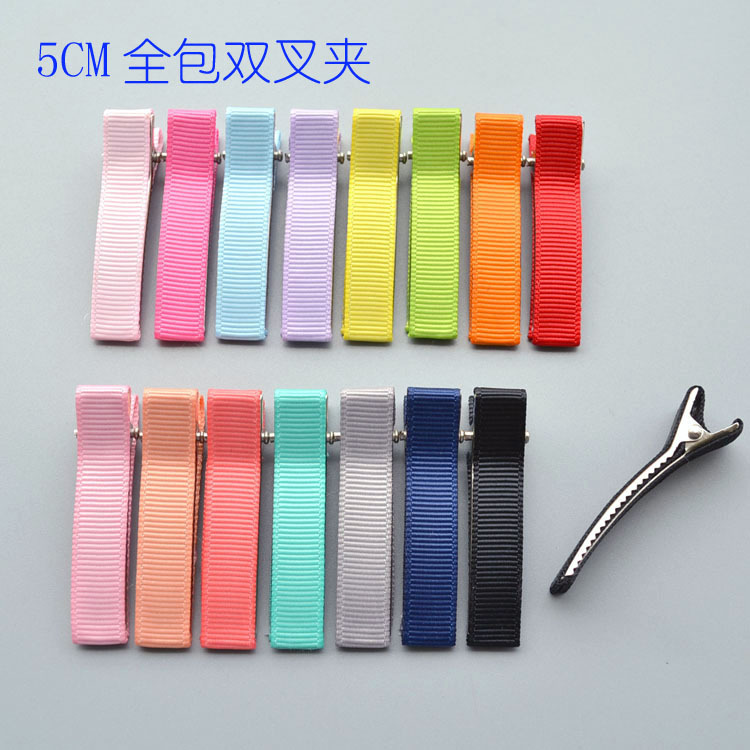 5CM Full Inclusion Ribbon Square Clamp Hairpin Material Handmade Kids Hair Accessories Headdress DIY Jewelry Making Wholesale