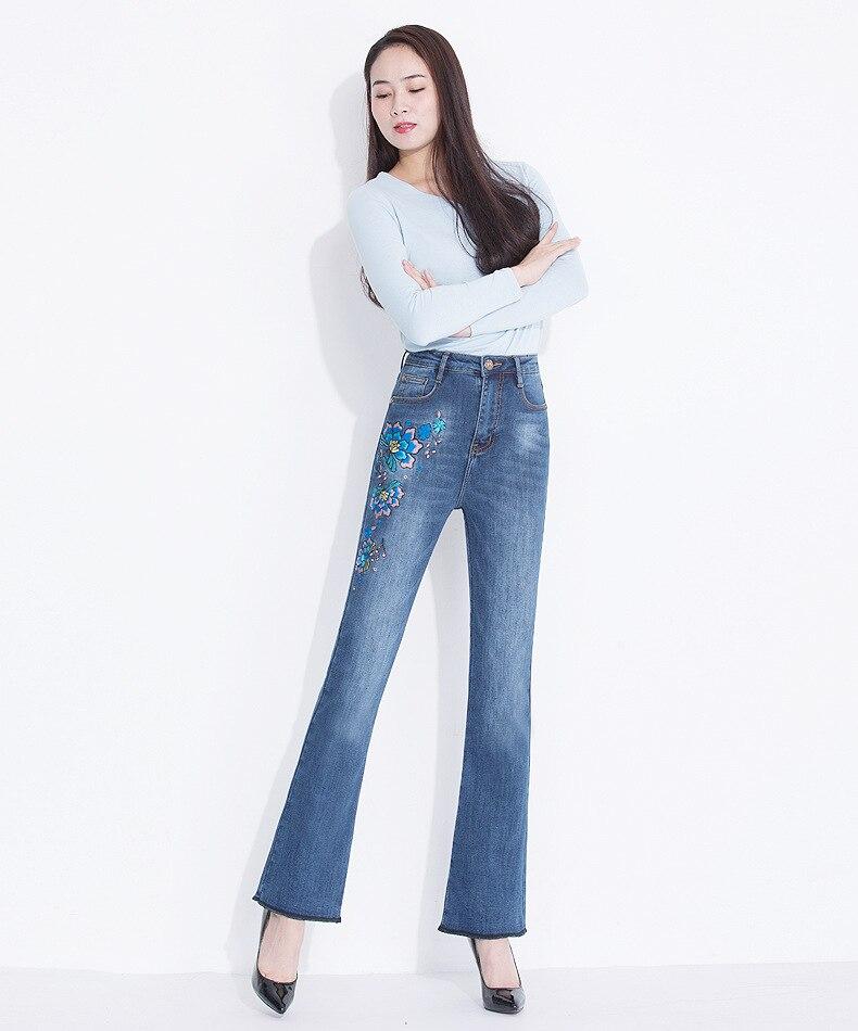 KSTUN FERZIGE Women's Jeans Winter Flared Pants Warm Fleece Heat Insulated Denim Stretch High Waist Business Casual Trousers Femme Big 13