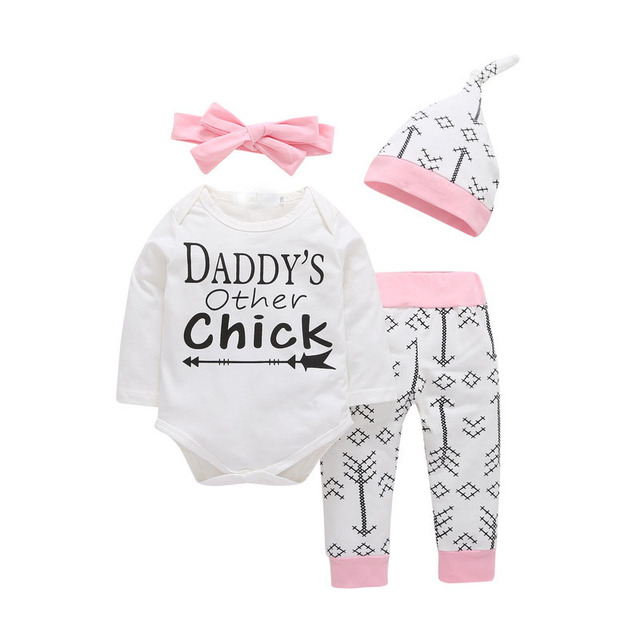c18cd5db9301 4PCS Sets!! New born Infant Baby girls clothes Daddy s Other Chick ...