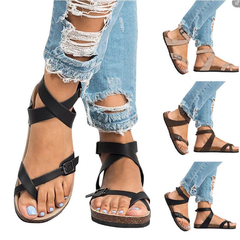 Ausdauernd Sommer Frau Sandalen 2019 Flachen Strand Sandalen Römischen Gürtel Schnalle Schuhe Casual Weibliche Gladiator Sandalen Damen Sandalia Feminina