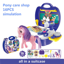16 Pcs role play Pet Store Shop Pretend Play Toy Pet Pony care Kits in Suitcase