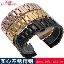 19mm 20 m 22 160mmstainless alternativa masculina hebilla de mariposa reloj de cadena de mariposa de acero de acero correa de reloj de pulsera de acero inoxidable