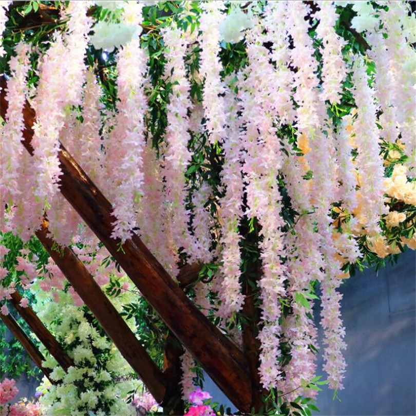11pcs Silk Cherry Blossom Flower Branches Syringa Strings for Wedding Tree Decoration Artificial Decorative Flowers