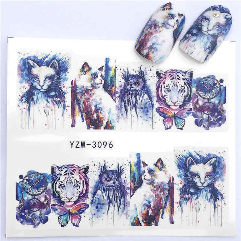 YZWLE 1 Pza pegatina de uñas caliente que lleva el gato anudado/La Flor de la belleza de la transferencia de agua estampado de puntas de Arte de uñas decoración de uñas manicura Deca
