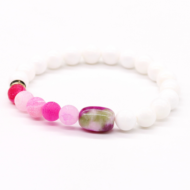 White Stone Round Beads Rose Matte Rose Onyx Bracelet Natural Stone Bracelet Jewelry Apple Stone Bucket Beads Bracelet Women