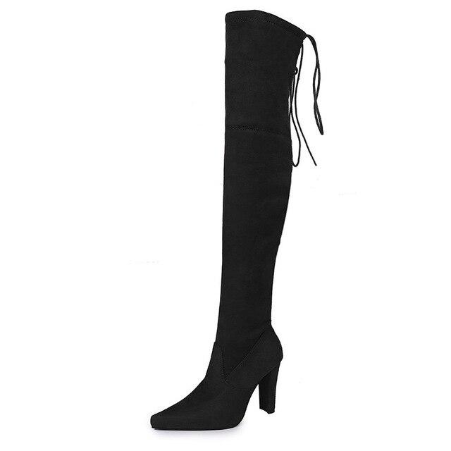 Extensible Femme Caché Talon Compensé Sur Bottes Hautes La Cuisse à Enfiler Chaussures 15 cm