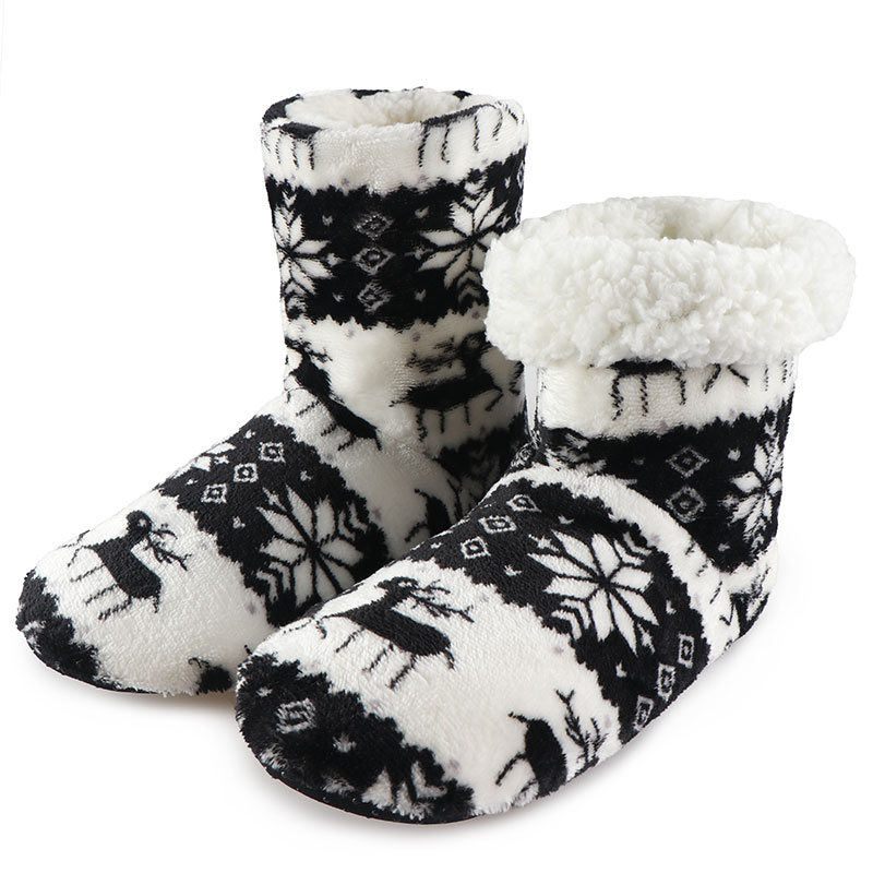 Winter Socks Shoes Woman Home Slippers Christmas Elk Indoor Shoes Warm Contton Slipper Plush Insole Anti-Skid Sole Botas Mujer high quality new autumn winter velvet ladies slippers women indoor rubber sole waterproof skid warm shoes woman zapatillas emoji
