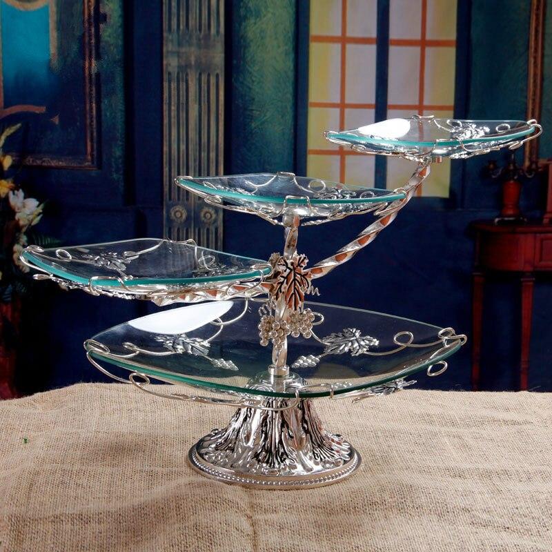 Plato de fruta de vidrio de lujo europeo moderno para sala de estar, plato de bocadillos de fruta seca, soporte de pastel de tres capas multicapa ZP12171826-in Fuentes y platos from Hogar y Mascotas    1