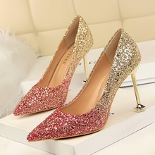 Women Pumps Shoes Sequined Cloth Slip-On  Pointed Toe 9cm Thin High Heels Shallow Mixed Color Sexy Club Lady Party Female Shoes krazing pot full grain leather slip on women pumps basic design mixed color style pointed toe office lady career wear shoes l77