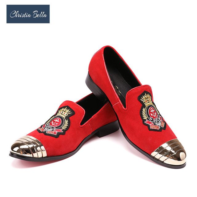 Christia Bella Embroidered Gold Crown Design Men Velvet Shoes with Buckle Men  Smoking Slippers Male Wedding and Party Loafers 4dee07203937