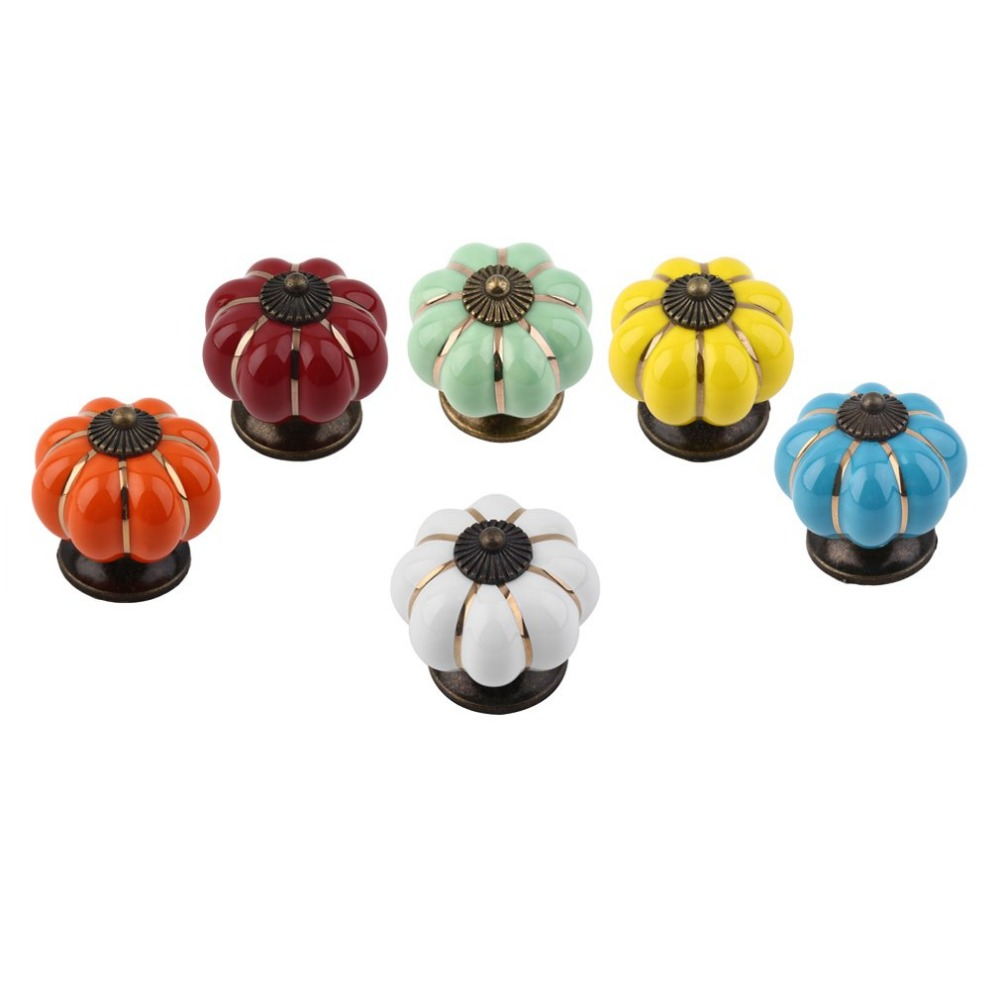 40mm Ceramic Pumpkin Retro Door Knobs Cabinet Drawer Locker Pull Handles css clear crystal glass cabinet drawer door knobs handles 30mm