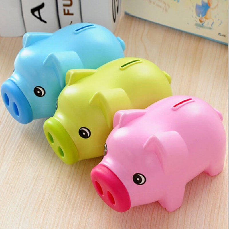 Cartoon pig piggy bank coin money plastic still savings toy cash safe box cartoon transparent pig piggy bank child lovers in money boxes from home garden