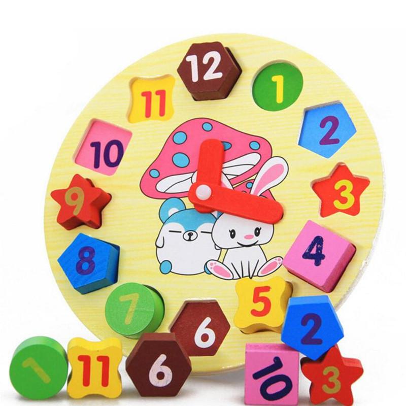 littlove para nios bebs nios educacin puzzle juguetes de madera geometra reloj digital de madera de